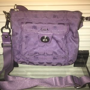FUN-Dk lavender Coach Crossbody w/adjustable strap